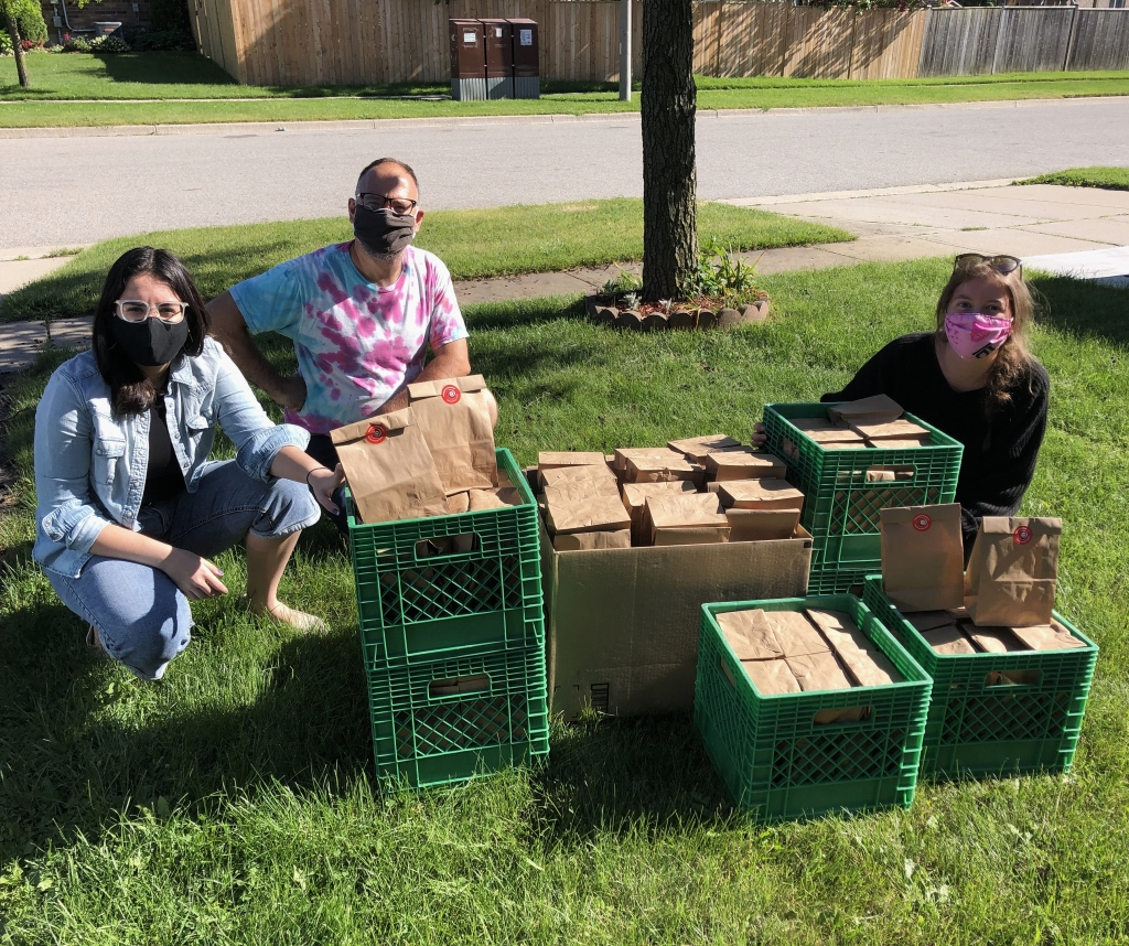 Team CTF with crates of period products
